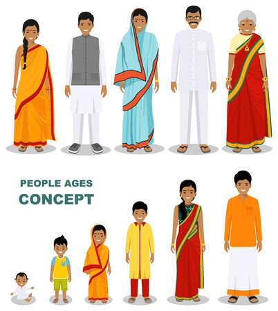 East people generations at different ages isolated on white background in flat style. Indian man and woman aging baby, child, teenager, young, adult, old people. Vector illustration. Illusztráció