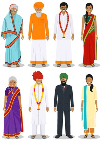 Set of different standing indian old and young adult people in the traditional clothing isolated on white background in flat style. Differences men and women in the national east dress. Vector.