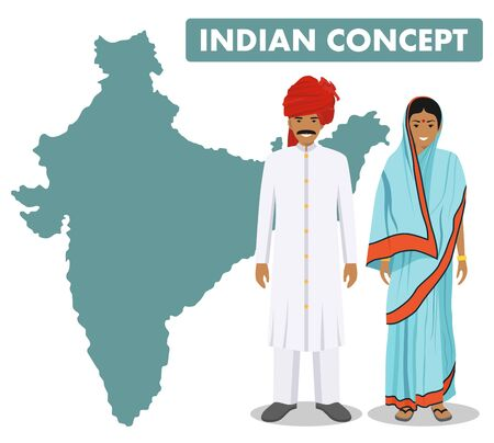 Family and social concept. Set of couple standing together indian man and woman in different traditional national clothes on background with map of India in flat style. Vector illustration.