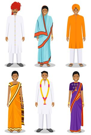 Set of different standing indian young adult women and men in the traditional clothing isolated on white background in flat style. Differences people in the national east dress. Vector illustration. Illusztráció