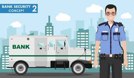 Bank security concept. Detailed illustration of armored car and security guard on background with cityscape in flat style. Vector illustration. Illusztráció