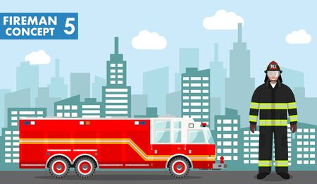 Fireman concept. Detailed illustration of man firefighter and fire truck in flat style on background with cityscape. Vector illustration.