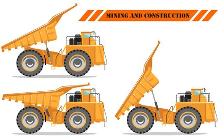 Detailed illustration of mining truck. Off-highway truck with different body position. Heavy mining machine equipment and construction machinery. 일러스트