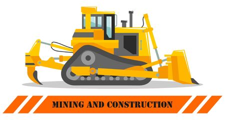 Dozer. Bulldozer. Detailed illustration of heavy mining machine and construction equipment. Vector illustration.