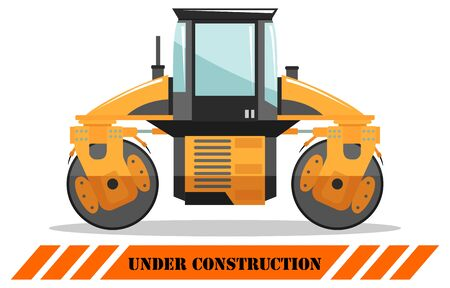 Compactor. Detailed illustration of heavy construction machine and equipment. Vector illustration. Illusztráció
