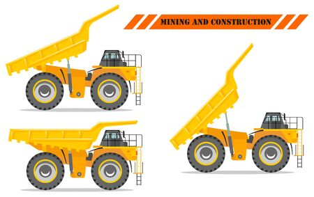 Off-highway truck with different body position. Heavy mining machine and construction equipment. Vector illustration.
