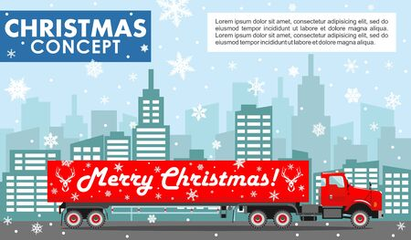 Christmas and New Year business concept. Detailed illustration of red delivery truck on background with winter cityscape in flat style. Vector illustration. Illusztráció