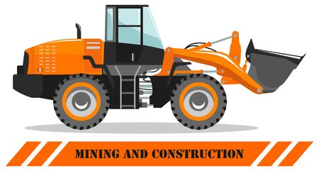 Wheel loader. Detailed illustration of heavy mining machine and construction equipment. Vector illustration.