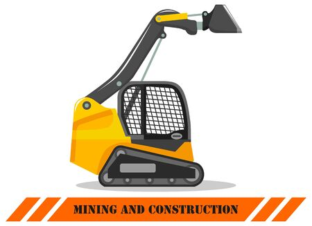 Skid steer loader. Detailed illustration of heavy construction machine and equipment. Vector illustration.