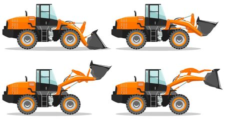 Wheel loader with different boom position. Detailed illustration of heavy mining machine and construction equipment. Vector illustration.