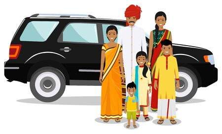 Family and social concept. Indian person generations at different ages. Set of people in traditional national clothes. Father, mother, boy, girl standing together near car. Vector illustration.