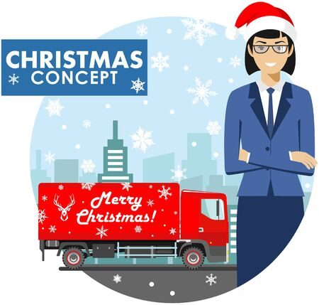 Christmas and New Year business concept. Detailed illustration of young businesswoman in the Santa Claus hat on background with red delivery truck and cityscape in flat style. Vector illustration.