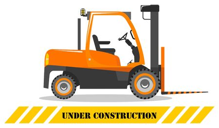 Forklift. Heavy construction machine. Building machinery. Special equipment. Vector illustration. Illustration