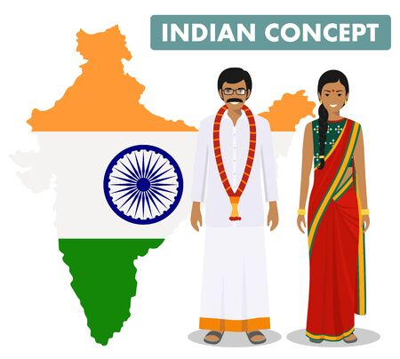Family and social concept. Set of couple standing together indian man and woman in different traditional national clothes on background with map of India with national flag inside. Vector illustration Illusztráció