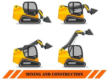 Skid steer loader with different boom position. Detailed illustration of heavy construction machine and mining equipment. Vector illustration.