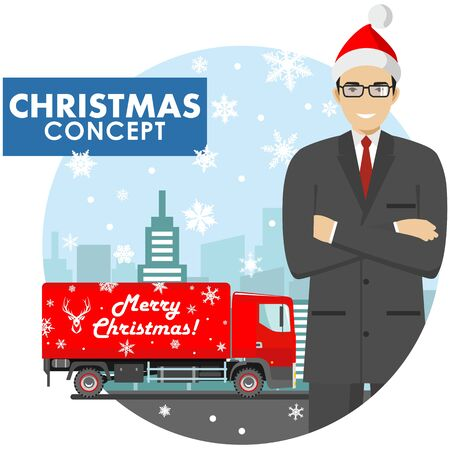 Christmas and New Year business concept. Detailed illustration of young businessman in the Santa Claus hat on background with red delivery truck and cityscape in flat style. Vector illustration.
