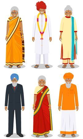 Set of different standing indian old people in the traditional clothing isolated on white background in flat style. Differences senior men and women in the national east dress. Vector illustration.