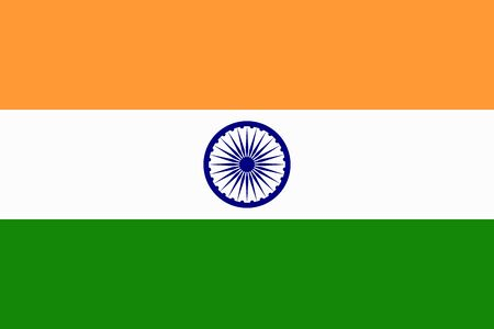 National symbol. Orange white green of Indian realistic flag. Vector illustration.