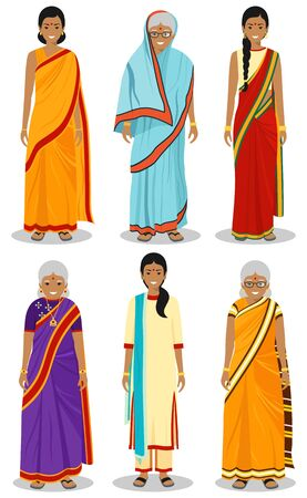 Indian woman. Set of different standing old, adult and young women in the traditional national clothing isolated on white background in flat style. Differences people in the east dress. Vector.