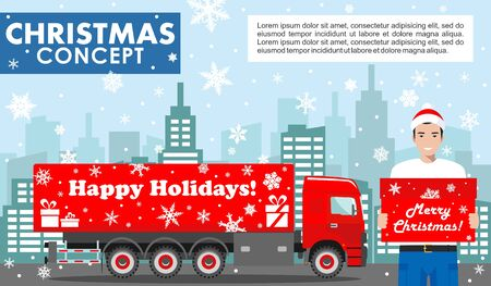 Christmas and New Year business concept. Detailed illustration of young deliveryman in the Santa Claus hat on background with red delivery truck and cityscape in flat style. Vector illustration.