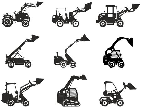 Set of skid steer loaders. Silhouette of heavy construction equipment and mining machine in flat style on the white background. Building machinery. Special equipment. Vector illustration.