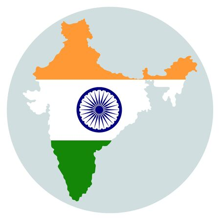 Map of India with indian national flag inside. Vector illustration