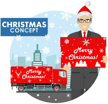 Detailed illustration of young businessman in the Santa Claus hat hold the box in hands on background with red delivery truck and cityscape in flat style. Vector illustration.