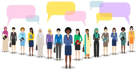 Group of women businesswomen standing together and speech bubbles on white background in flat style. Business team and teamwork. Different nationalities and dress styles. Concept of the opinion poll.