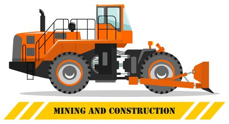Wheel dozer. Bulldozer. Detailed illustration of heavy mining machine and construction equipment. Vector illustration.