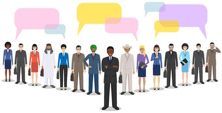 Group of creative people and speech bubbles isolated on white background. Set of diverse business people standing together. Different nationalities and dress styles. Cute and simple in flat style. Flat design people characters.