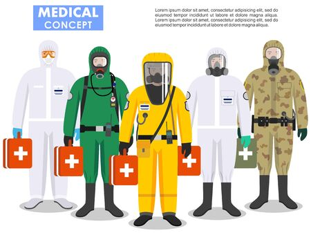 Medical concept. Detailed illustration different doctors in differences protective suits and masks on white background in flat style. Dangerous profession. Virus, infection, epidemic, quarantine.