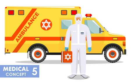 Medical concept. Detailed illustration of jewish emergency doctor in protective suit and mask near ambulance car in flat style background. Virus, infection, epidemic, quarantine. Vector illustration.