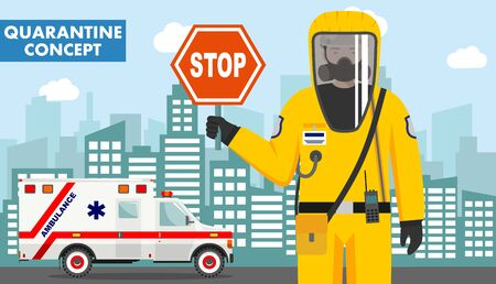 Quarantine and medical concept. Detailed illustration of emergency doctor in protective suit and mask on background with ambulance car and cityscape. Virus, infection, epidemic. Vector illustration.