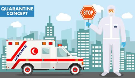 Quarantine and medical concept. Detailed illustration of muslim arabian doctor in protective suit and mask near ambulance car on background with cityscape in flat style. Virus, infection, epidemic, quarantine. Vector illustration. Ilustracja