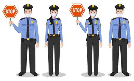 Police USA and quarantine concept. Couple of american policeman and policewoman in traditional uniforms and protective masks standing together on white background in flat style. Vector illustration. Vettoriali