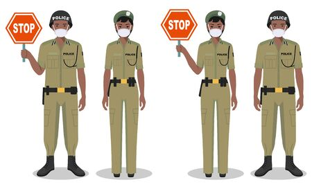 Police and quarantine concept. Couple of african policeman and policewoman in traditional uniforms and protective masks standing together on white background in flat style. Vector illustration.