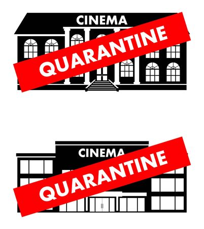 Virus concept. Quarantine sign of cinema building, theater isolated on white