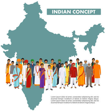 Family and social concept. Group indian young people standing together in different traditional national clothes on background with map of India in flat style. Vector illustration. 일러스트