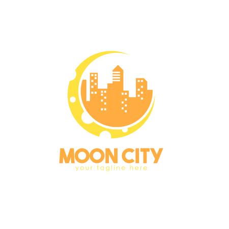 moon City logo Vector illustration isolated on white background.