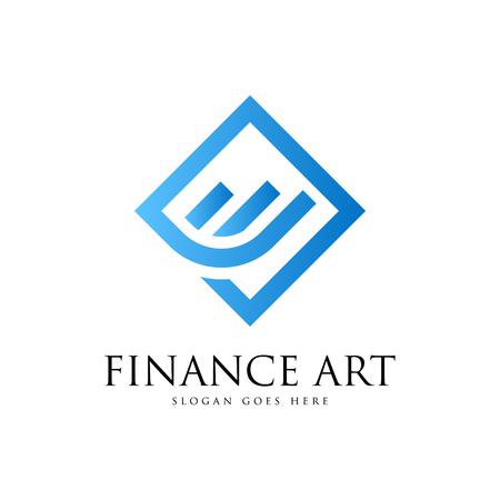 Finance art  logo Vector illustration isolated on white background.  イラスト・ベクター素材