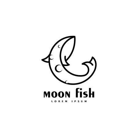 Moon fish logo isolated on white background, Vector illustration.