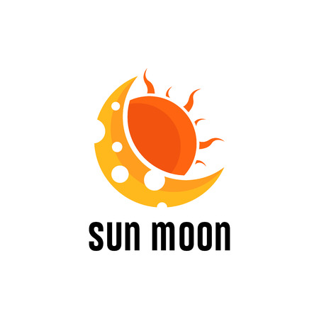 Sun Moon logo isolated on isolated on white background. Vector illustration.