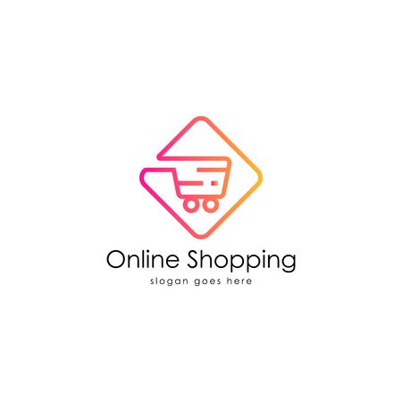 Online shopping logo vector Vectores