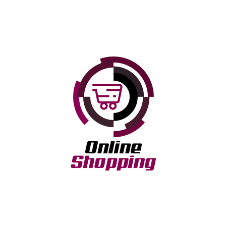 Online shopping logo vector Illustration
