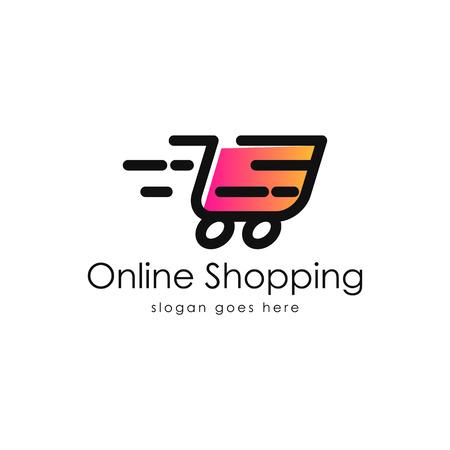 Online shopping logo vector Çizim