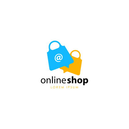 Online shop logo template vector Stock Illustratie