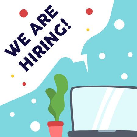 We are hiring vacancy open recruitment. Job vacancy banner. Open recruitment illustration Illustration