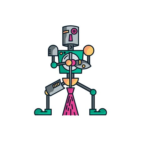 Robot characters who are using brooms to clean the house