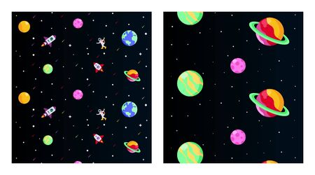 Flat outer space background illustration vector. Outer space illustration in pack. Outer space with spaceman and spacecraft