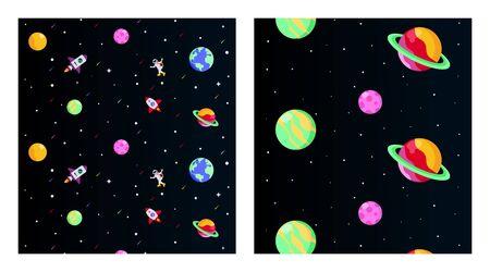 Vecteur d'illustration de fond plat de l'espace extra-atmosphérique. Illustration de l'espace extra-atmosphérique en pack. L'espace extra-atmosphérique avec astronaute et vaisseau spatial